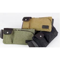 หลากสี!!กระเป๋าสะพายเฉียง คาดเอว 2 ช่อง แต่งซิบโค้ง ผ้าใบ สีกากี เขียว