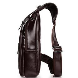 กระเป๋าสะพายข้าง สอดหูฟัง หลัง ทรงเรียวยาว PUหนังเงา ซิบเฉียงเข็มขัด สีน้ำตาล