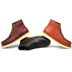 ราคาพิเศษ!!พรีออเดอร์ รองเท้าบููทหนัง หุ้มข้อ เย็บขอบ หนังเงาแท้ สีดำ น้ำตาล แดง เบอร์ 38-44