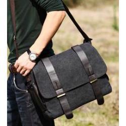 กระเป๋าสะพายเรโทร 2เข็มขัด ผ้าใบ สไตล์อังกฤษ สีดำ เบจ กากี ฟ้า