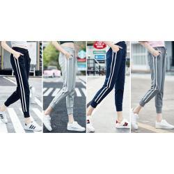 ฝ้าย5ส่วน!! กางเกงผ้าฝ้ายขาจั๊ม jogger ผู้หญิง สามส่วน 5ส่วน เอวรูด ออกกำลังกาย ฟิตเนส JD สี เทา น้ำเงิน ดำ เทาเข้ม