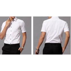 หลากสี!!เสื้อเชิ้ตแขนสั้นทรงฟิต ปกเล็กแบบอังกฤษ แต่งสาบปกดำ สีขาว No.36