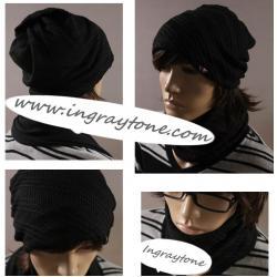 ลดล้างสต๊อค!หมวกไหมพรม หมวกกันหนาว หมวกคลุม หมวกผ้าพันคอไหมพรม+ผ้าพันคอ ดำ