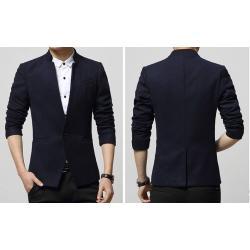 3สีเล็กพิเศษ!เสื้อสูทคอจีนแฟชั่นสลิมฟิตเรียบกระดุม1 Size No.33 39 41 42 สีดำ น้ำเงิน แดง