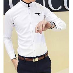 เสื้อเชิ้ตแขนยาว ทรงฟิต คอจีน ปกตัดต่อทูโทน น้ำเงิน ขาว No.41
