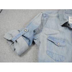 เสื้อเชิ้ตแขนพับศอก ผ้ายีนส์เนื้อดี สไตล์อังกฤษ Allst ฟ้าขาว size42