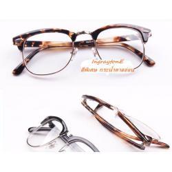แว่นตากรอบบาง เรโทร วินเทจ แบบกึ่งโลหะ ครึ่งกรอบ แบบClubM (ดำ ลายกระ)
