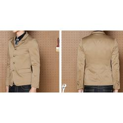 ฟรีถุงสูท เล็กสั้นพิเศษ!!เสื้อสูทแฟชั่น ปกปิด คอจีน ปก2สไตล์ กระดุม4 Size No.33 35 37 39 น้ำตาลอ่อน