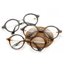 แว่นตาทรงกลม แฟชั่น วินเทจ สัน เส้น ทอง ( ดำ กระ น้ำตาล)