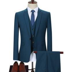ชุดเสื้อสูท แฟชั่นชาย สไตล์อังกฤษ ปกเปิด สีฟ้าเข้ม Size No.34 36 38 40 42