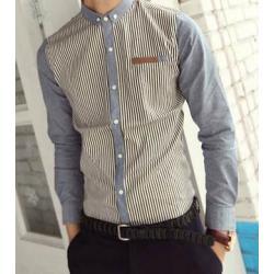 เล็กพิเศษ++เสื้อเชิ้ตแขนยาว เสื้อคอปกเล็ก ทรงฟิต แฟชั่น ลายทางทูโทน JL No.36