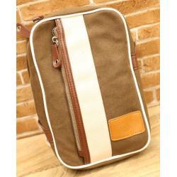 กระเป๋าสะพายข้าง แนวตั้งสี่เหลี่ยม แถบขาว แต่งซิบ2ผ้าใบ สีน้ำตาล