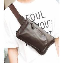 กระเป๋าคาดอก กระเป๋ามือถือ กระเป๋าคาดเอว หนังPU สี่เหลี่ยมผืนผ้าซิบโค้ง สี ดำ น้ำตาล
