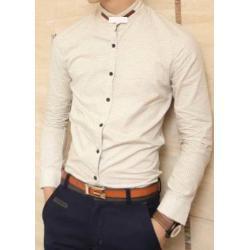 เสื้อเชิ้ตคอจีนแขนยาว วินเทจ ลายจุด แต่งคอหนัง สี ขาวครีม No.35