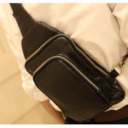 กระเป๋าสะพาย เรโทร ซิบ2ชั้น PU สีดำ