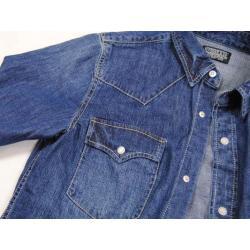 เสื้อเชิ้ตแขนยาว ผ้ายีนส์เนื้อดี สไตล์ยุโรป Stooge น้ำเงินเข้ม size No.38
