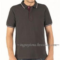 เสื้อยืดโปโล Henry Lloyd เดินเส้นปกแขน พิเศษสกรีนฟ้อนท์2จุด No.40 สีน้ำตาล