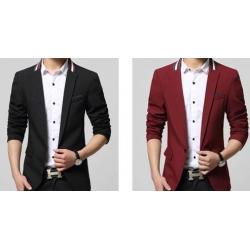 สูทผู้ชาย เสื้อสูทแฟชั่นชาย ตัวเล็ก ทรงสลิมฟิต แต่คอเทปสี Size No.33 35 ดำ