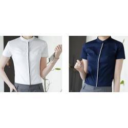 เล็กใหญ่พิเศษ!!เสื้อเชิ้ตแขนสั้นผู้หญิง คอจีน เรียบ เข้ารูป สาบขอบ size No.32-46 สีขาว น้ำเงิน