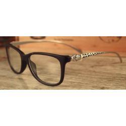 กรอบแว่นสายตาแฟชั่น แบบสลิมทรงสวย ลายนาค สีเงิน สไตล์ สีดำด้าน