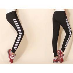 หลากสี!!กางเกงผ้าฝ้ายผู้หญิงขาจั๊ม เอวรูด ออกกำลังกาย ฟิตเนส แต่งข้างแฟชั่น คุณภาพสูง สี ดำ น้ำเงิน เทา