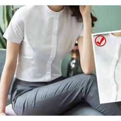 เล็กใหญ่พิเศษ!!เสื้อเชิ้ตแขนสั้นผู้หญิง คอจีน เข้ารูป size No.32-46 สีขาว ฟ้า ชมพู