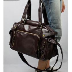 กระเป๋าเรโทร Hold all สไตล์อังกฤษ แต่งซิบสี่เหลี่ยม หนัง pu สีดำ น้ำตาล