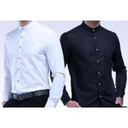ใหญ่พิเศษ!!เสื้อเชิ้ตแขนยาว คอจีน ทรงปกติ size No.37 38 39 40 41 42 43 44 45 46 47 48 สีขาว