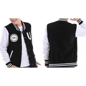 เสื้อแจ็คเก็ต เบสบอล ฮูด UK โลโก้หนัง สีพิเศษ No.44 สีขาวดำ
