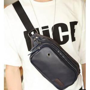 กระเป๋าคาดอก กระเป๋าคาดเอว ทรงรี หนังเงา สีดำ น้ำเงิน