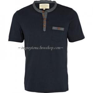ShockPrice!!เสื้อยืดคอจีน แบรนด์ยุโรป River Isl กระเป๋า สาปยีนส์ No.36 กรมท่า