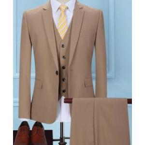 เสื้อสูท แฟชั่นชาย สไตล์อังกฤษ ปกเปิด สีกากี Size No.34 36 38 40 42