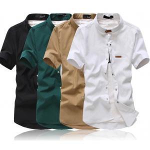 ซื้อคู่สุดค้ม1260-หลากสี+เสื้อเชิ้ตคอจีนแขนสั้น+แขนยาว แต่งคอเข็มขัด สีดำ ขาว เขียว กากี แดง น้ำเงิน No.34 36 38 40 42 44