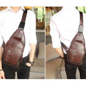 กระเป๋าคาดอก กระเป๋ามือถือ เนื้อ PU กึ่งด้าน แต่งขอบดำ สีน้ำตาล
