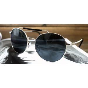 กรอบแว่นตากันแดดแฟชั่นแบบบาร์ retro vintageปรอท สีเงิน ดำ )
