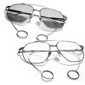 2สี! แว่นตากันแดดแฟชั่น เรโทร วินเทจ กลมรี aviator สีดำ ใส