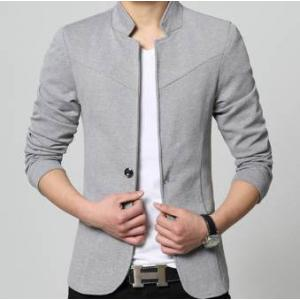 เล็กพิเศษ +เสื้อสูทคอจีนแฟชั่นสลิมฟิตเรียบกระดุม1 Size No.33 35 37 39 41 สีเทา