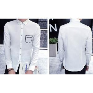 เล็กพิเศษ!!เสื้อเชิ้ตแขนยาว สลิมฟิต เสื้อคอปกเล็ก แต่งกระเป๋าสีตัด สีขาว No.40