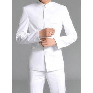 แบบกระดุมตามสั่ง!!ชุดสูทกางเกง คอจีนกระดุม5เม็ด สีขาว Size No 36 38 40 42 44 46