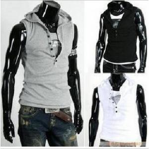เสื้อ hood แนวๆ สวมหัว แขนกุด ผ้ายืดหยุ่น สีขาว ดำ 34