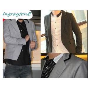 เล็กไม่สูง!!เสื้อสูทแขนและเสื้อสั้น สลิมฟิต ตัวสั้น ปกคลิบดำ Size No.36 (เทา ดำ)