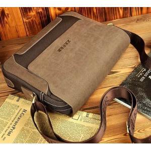 กระเป๋าเรโทร ขนาดพกพา ipad แนวนอน สุดคลาสสิค เนื้อผ้าออกฟอร์ด สีน้ำตาลเทา