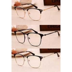 3สี! แว่นตาแฟชั่น กรอบบาง ทูโทน ขาเล็ก เรโทร วินเทจ semi (ดำ เงิน ทอง )