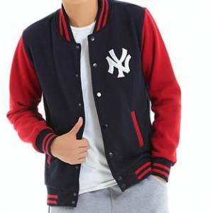 Limited++เสื้อแจ็คเก็ต เบสบอล 2โทน NY สีแดงน้ำเงิน No. 38