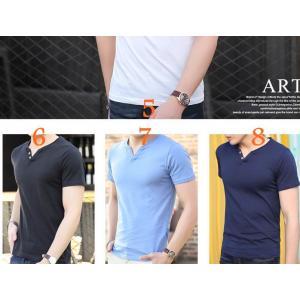หลากสี !!เสื้อยืดคอวี T shirt แฟชั่น กระดุม2 สี 4-10 No.37 39