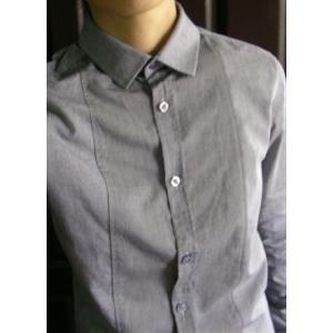 เสื้อเชิ้ตแขนยาว เสื้อคอปกเล็ก ทรงฟิต ลายทาง ปกเล็ก สไตล์อังกฤษ แบรนด์อังกฤษ NL No.36,38 (เทา)