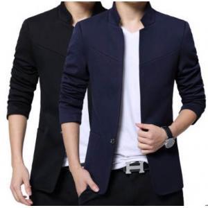 เสื้อสูทผู้ชายคอจีน แฟชั่นสลิมฟิตเรียบกระดุม Size No.33 35 37-39-41 สีดำ น้ำเงิน