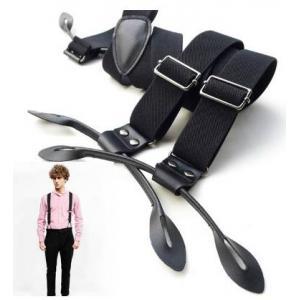 สายรัดกางเกงเอี๊ยมกระดุม แบบยืดหยุ่น หูหนัง กว้าง 3cm หุกระดุม6จุด แบบ Y สีดำ