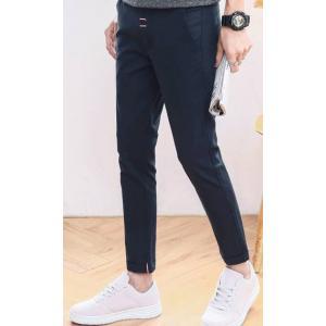 ดำ เทา น้ำเงิน!! กางเกงสแลคลำลอง 5ส่วนผ้าฝ้าย ขาเล็ก กระเป๋าสอด No.27-36 สีดำ เทา น้ำเงิน