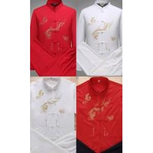 ชุดคอจีน กังฟู มังกร Size No.34 36 38 40 42 44 ดำ ขาว ครีม แดง